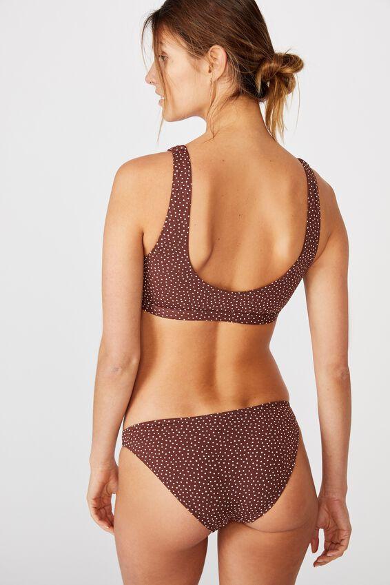 Cut Out Crop Bikini Top, CHOCOLATE/WHITE SPOT SHIRRED
