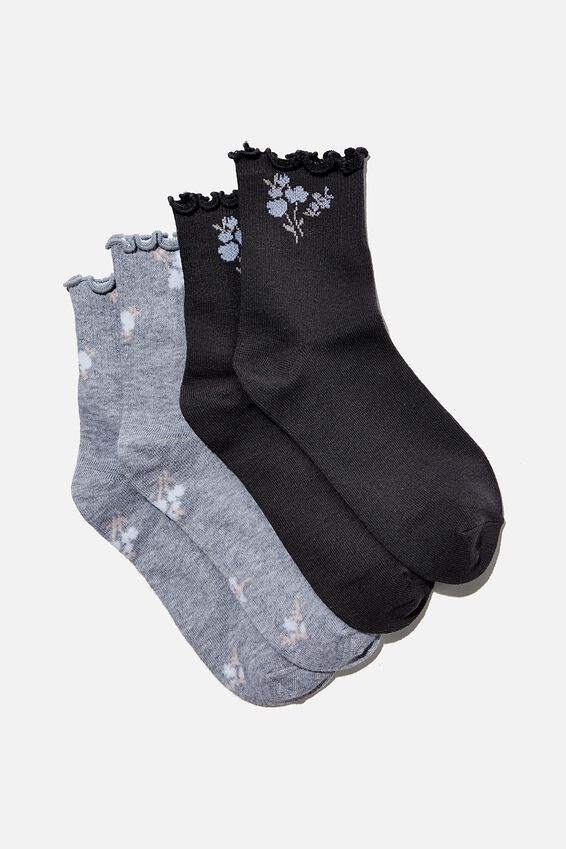 2Pk Frill Hem Sock, SOFT GREY/CHARCOAL