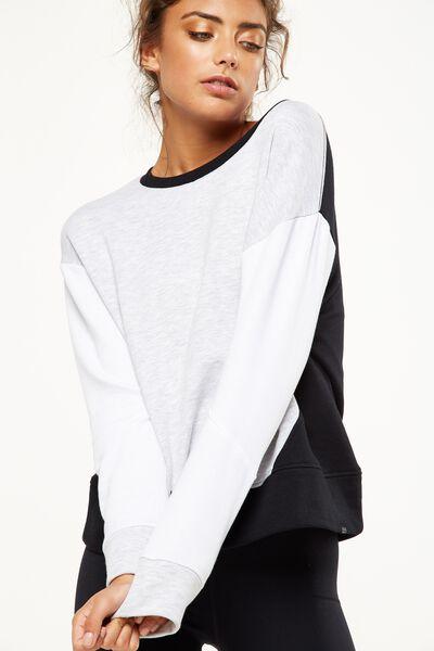 Panelled Long Sleeve Top, GREY MARLE/BLACK/WHITE