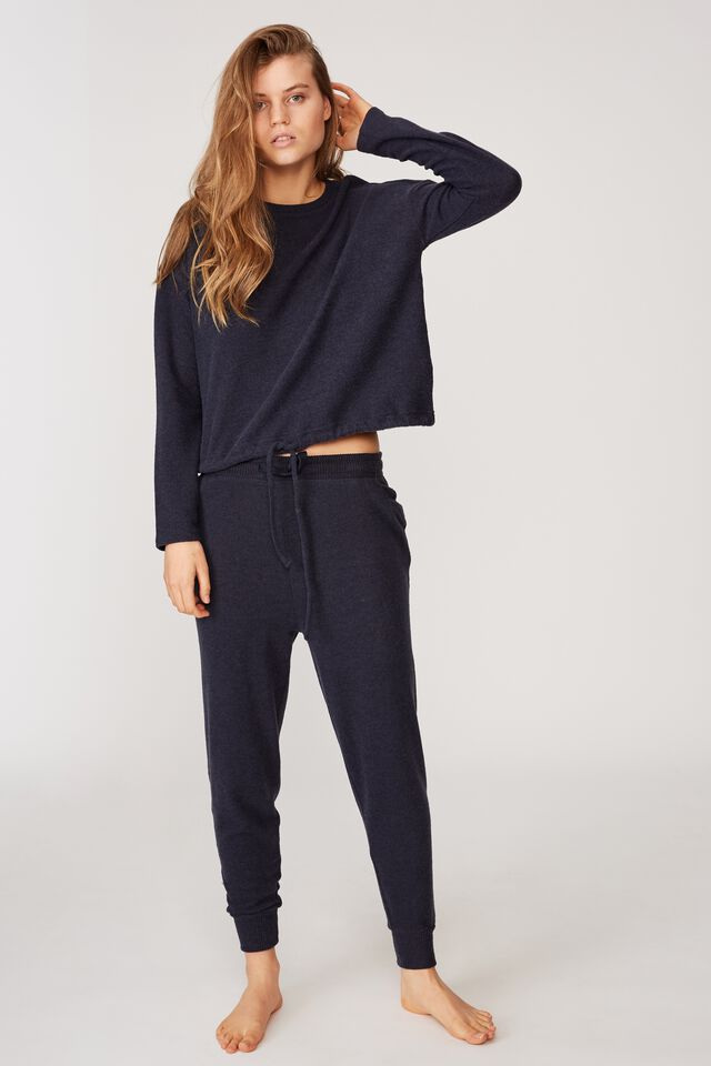 Super Soft Draw Cord Crew, NAVY BABY MARLE