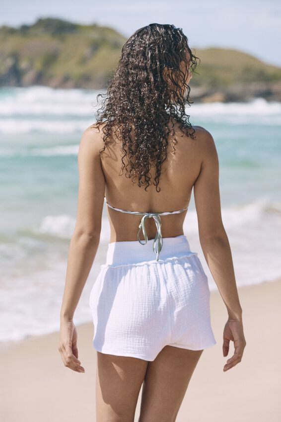 Shirred Waist Beach Short, WHITE