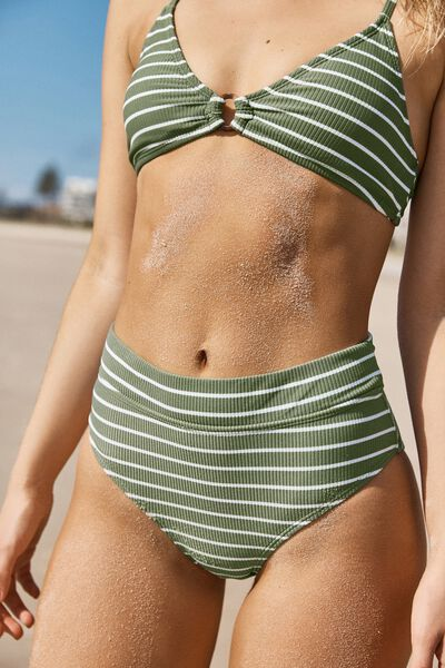Highwaisted Banded Cheeky Bikini Bottom, COOL AVOCADO STRIPE RIB