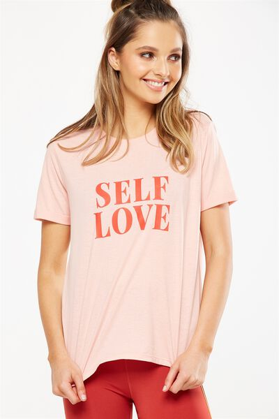 Slogan T Shirt, PETAL PINK/SELF LOVE