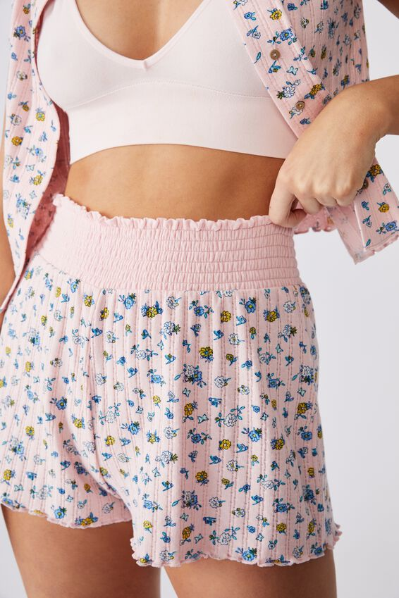 Knit Pointelle Bed Short, BUTTERFLY DITZY/ROSE WATER MARLE