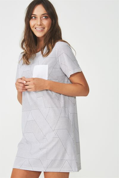 Boxy Tshirt Nightie, SPLICEY STRIPE WHITE