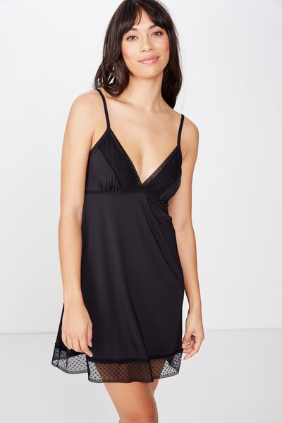 Slinky Nightie, BLACK