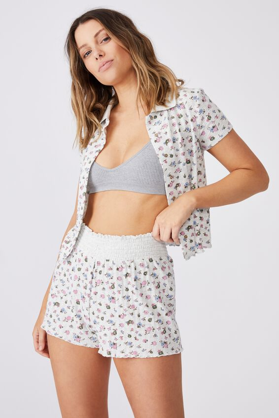 Knit Pointelle Bed Short, BUTTERFLY DITZY/SOFT GREY MARLE