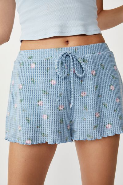 Waffle Bedtime Short, TOSSED ROSEBUD FADED DENIM