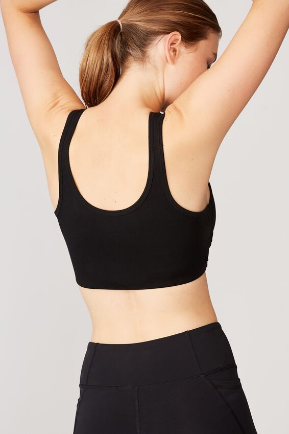 Twist Front Crop Tank, BLACK