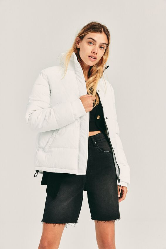 The Mother Puffer Jacket, WHITE