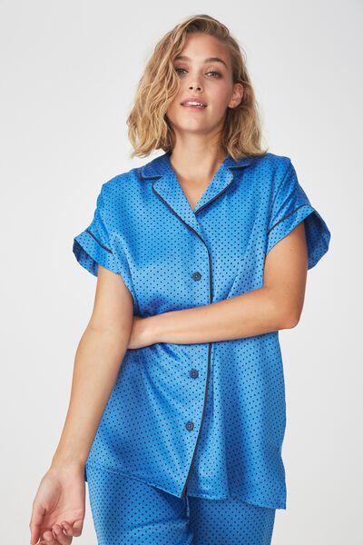 Satin Short Sleeve Shirt, NAVY MINI SPOT