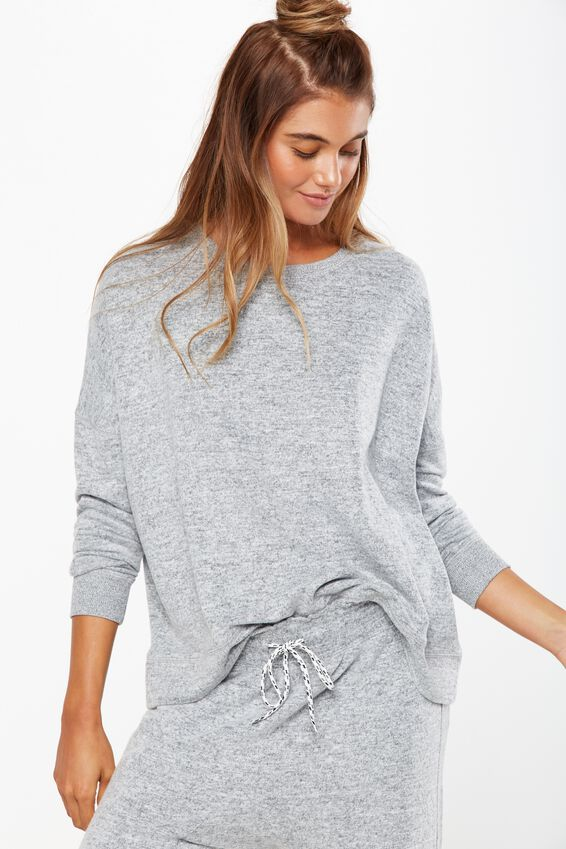 Super Soft  Lounge Top, GREY MARLE