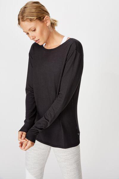 Back Twist Long Sleeve Top, NAVY