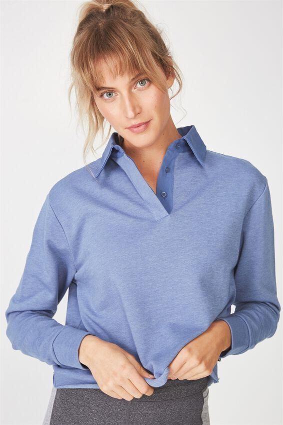 Polo Collar Longsleeve, CHALKY BLUE MARLE