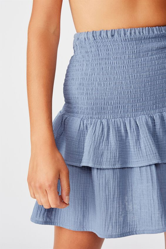 Shirred Beach Skirt, MARINA BLUE