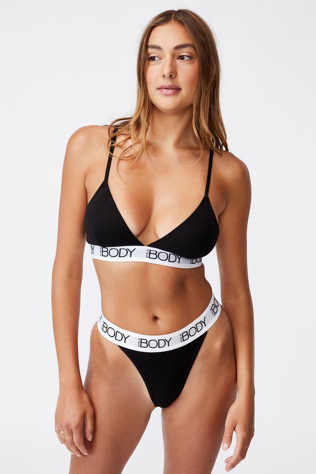 Body Organic Cotton Bralette, BLACK