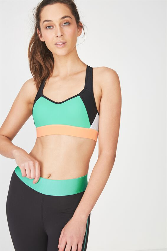 High Impact Wire Free Sports Bra, BLACK/KELLY GREEN