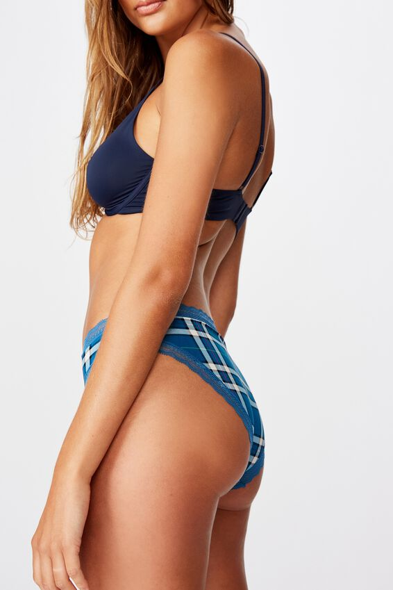 Smooth Lace Trim Bikini Brief, CHECKMATE CHECK BLUES