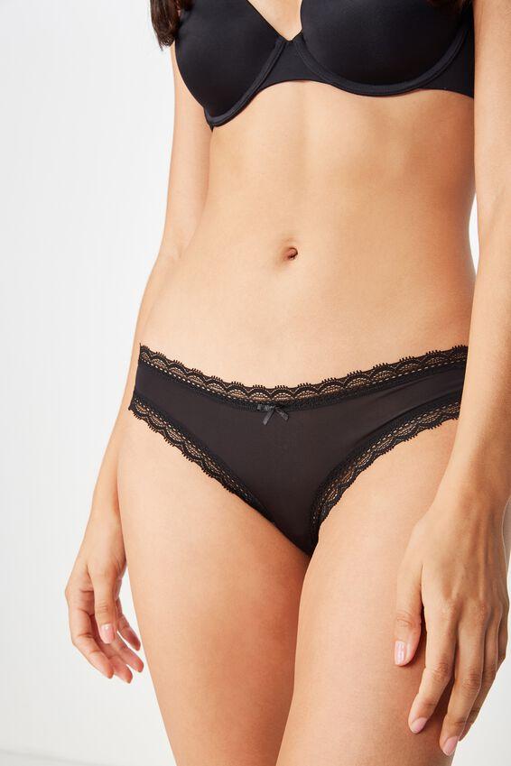 Smooth Lace Trim Bikini Brief, BLACK