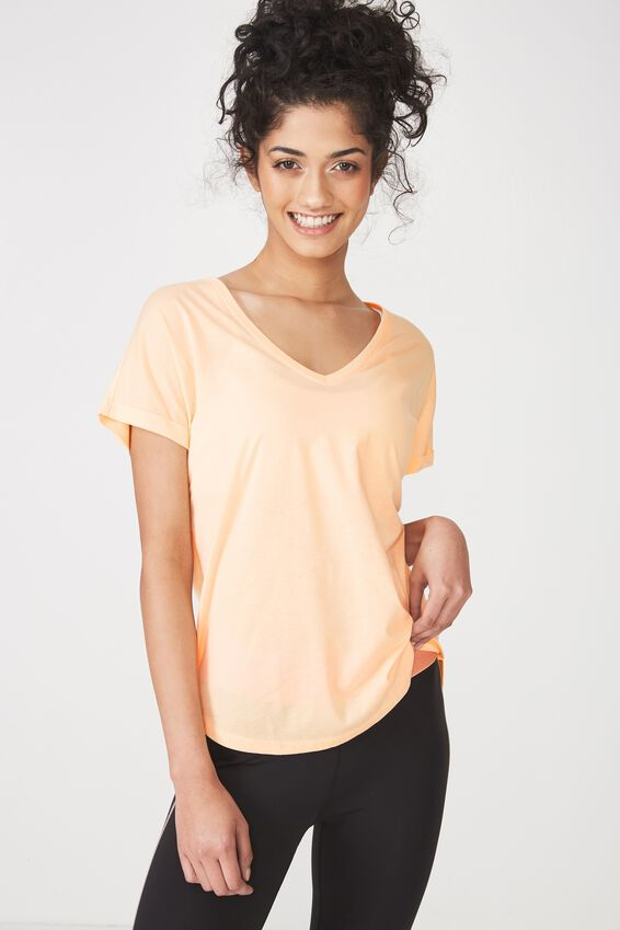 Rolled Sleeve Gym T Shirt, BLEACHED APRICOT
