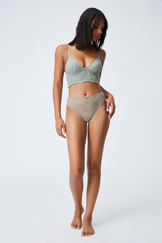 Cherry Blossom Longline Bralette With Cups, GREEN HAZE