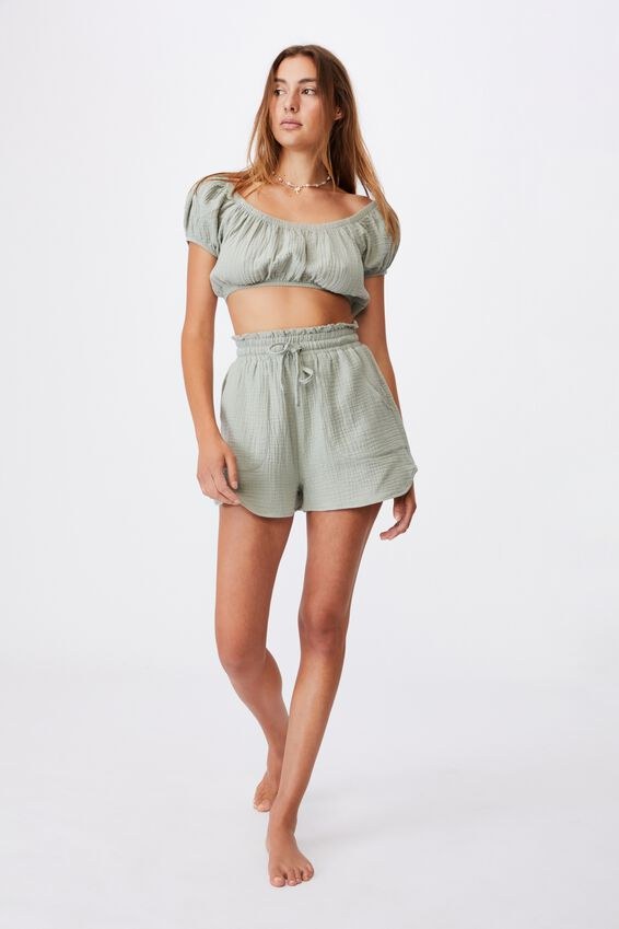 Paperbag Waist Beach Short, KHAKI