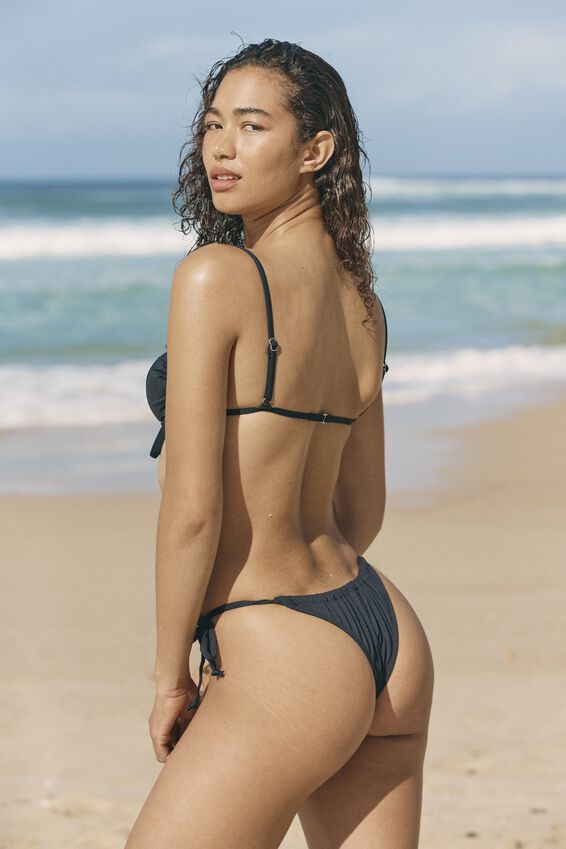 Gathered Tie Brazilian Bikini Bottom, BLACK