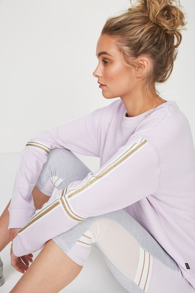Long Sleeve Terry Crew Top, ICY LILAC