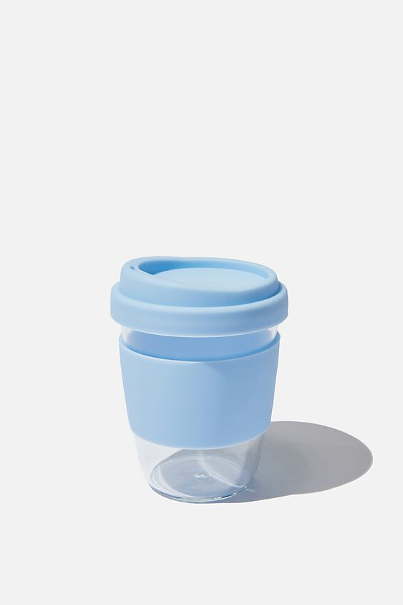 Reusable Glass Coffee Cup 380Ml, BLUE