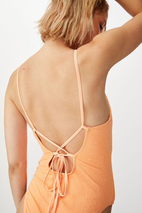 Crinkle One Piece Cheeky, CORAL CRINKLE
