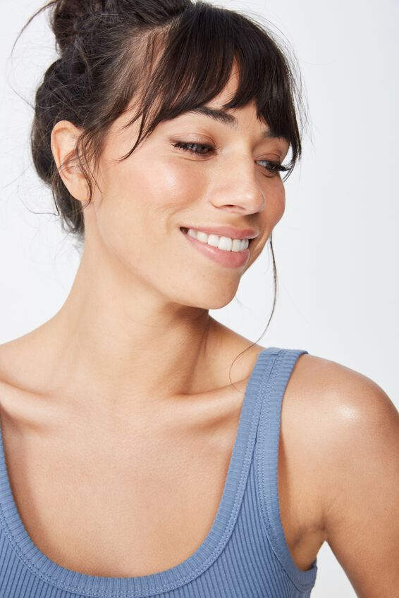 Scoop Neck Rib Tank Top, FADED DENIM