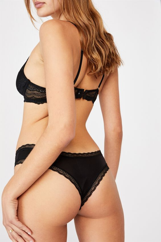Smooth Lace Trim Brasiliano Brief, BLACK