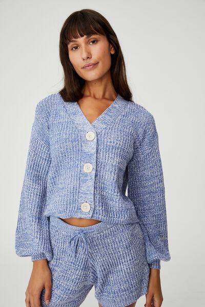 Organic Cotton Knit Cardigan, BALLAD BLUE MARLE