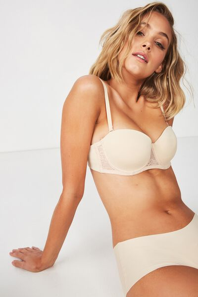 Smooth Lace Contour Strapless Bra, FRAPPE