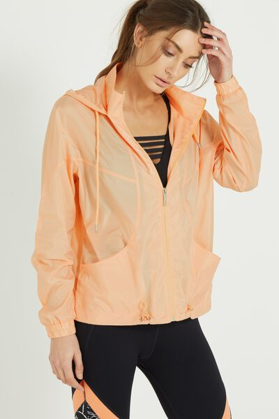 Transparent Lightweight Jacket, PAPAYA TRANSPARENT