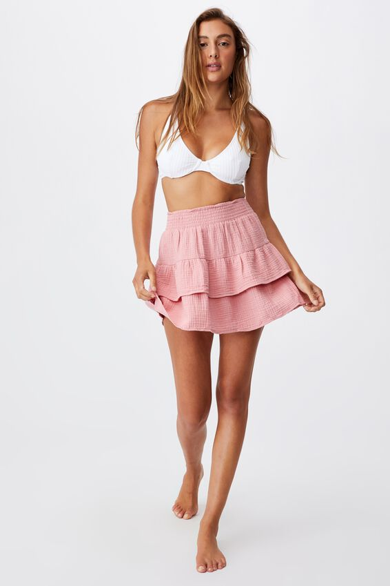 Double Ruffle Beach Skirt, PINK ALMOND