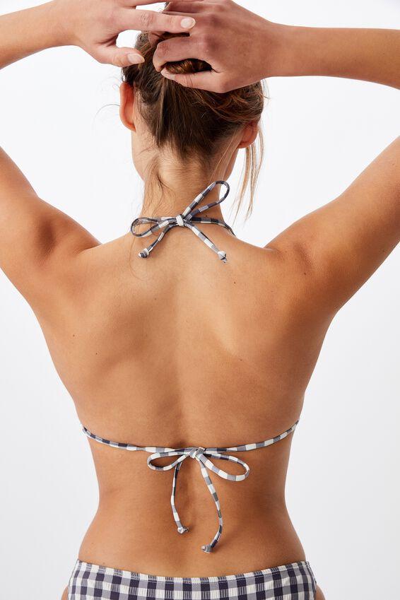 Slider Triangle Bikini Top, IRON GINGHAM