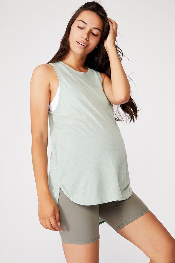 Maternity Active Curve Hem Tank Top, MINT CHIP