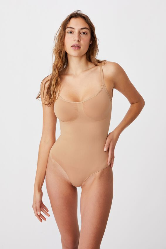 Go Figure Smooth Bodysuit, PECAN FUDGE