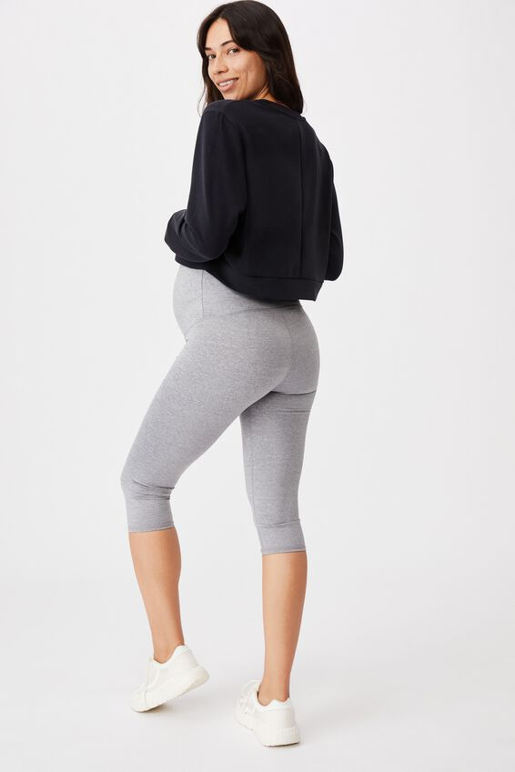 Maternity Capri Over Belly Tight, MID GREY MARLE