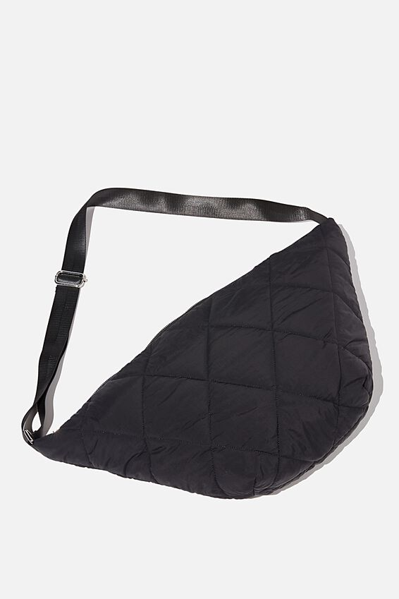 Quilted Cross Body Bag, BLACK