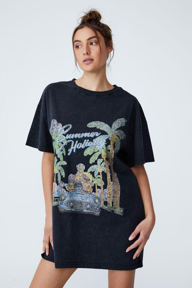 Organic Cotton 90S T-Shirt Nightie, LCN KAKAO SUMMER HOLIDAY/WASHED BLACK