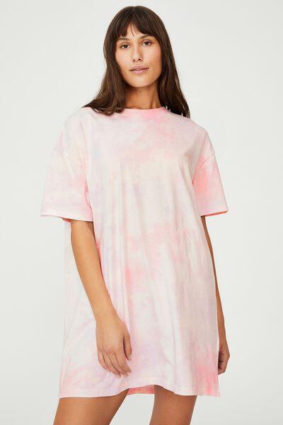 Organic Cotton 90S T-Shirt Nightie, SPLASH TIE DYE
