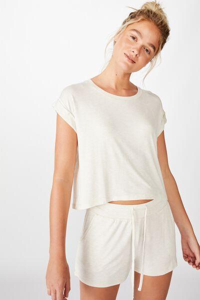 Sleep Recovery Hip Grazer T-Shirt, PORRIDGE MARLE