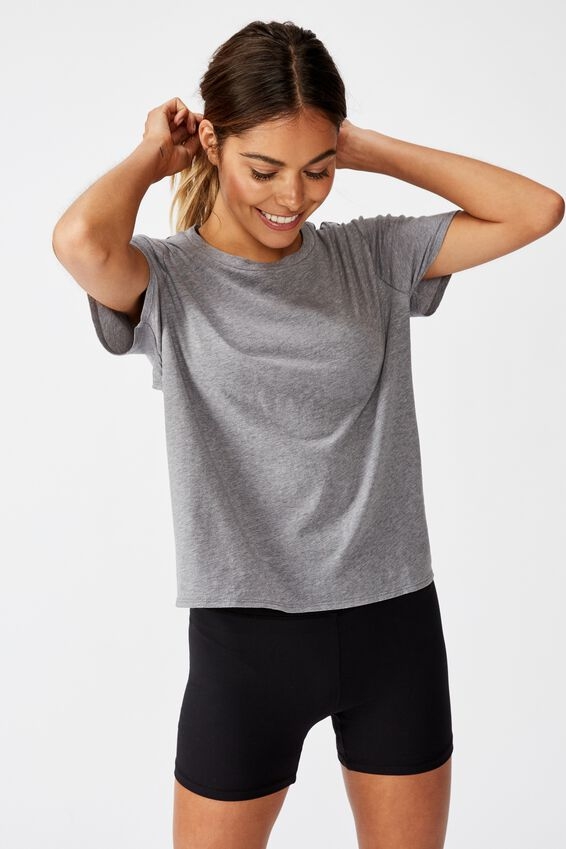 Open Back Tie Up Tshirt, GREY MARLE