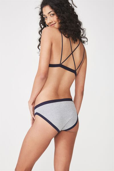 Cotton Bind Bikini Brief, MIDNIGHT MINI SPOT