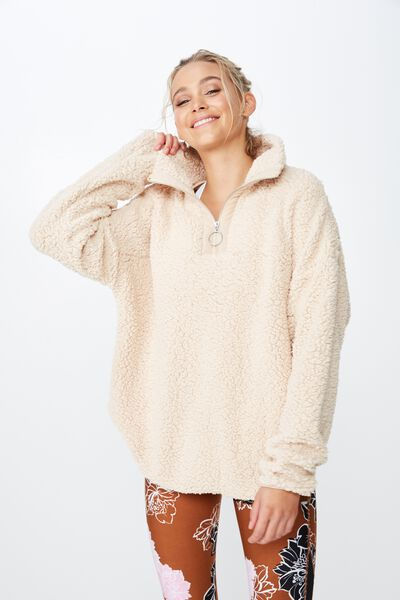 Sherpa Funnel Neck, TAN