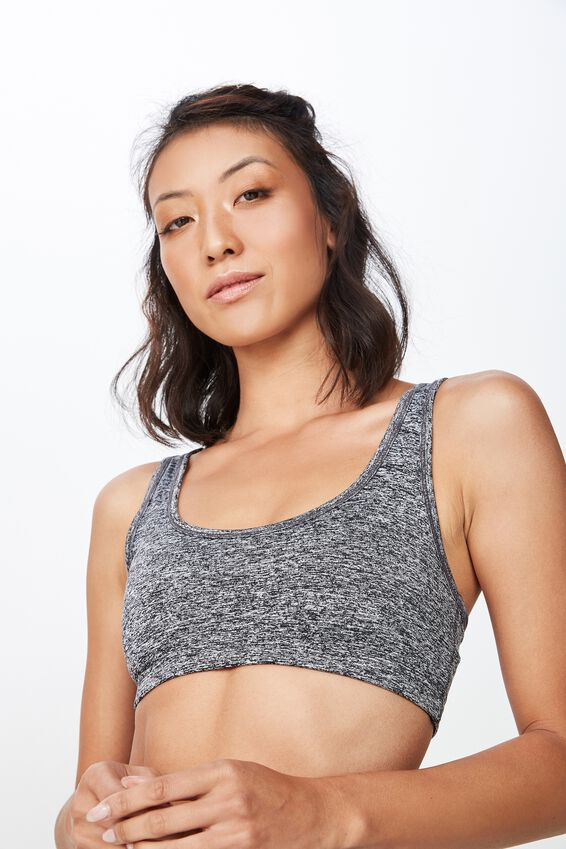 Workout Cardio Crop Bra, SALT & PEPPER