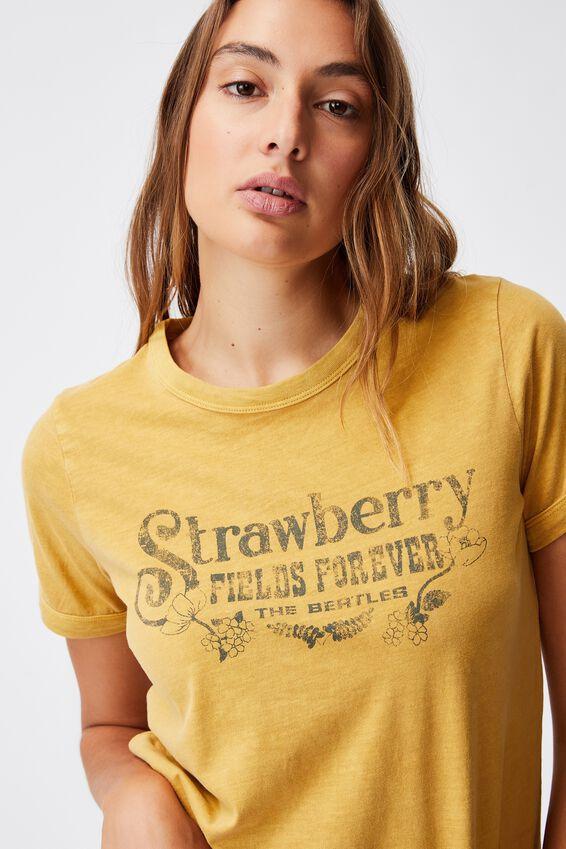 Ringer Sleep T-Shirt, LCN APP BEATLES STRAWBERRY FIELDS