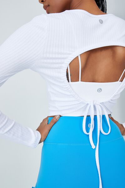 Tie Back Long Sleeve Top, WHITE